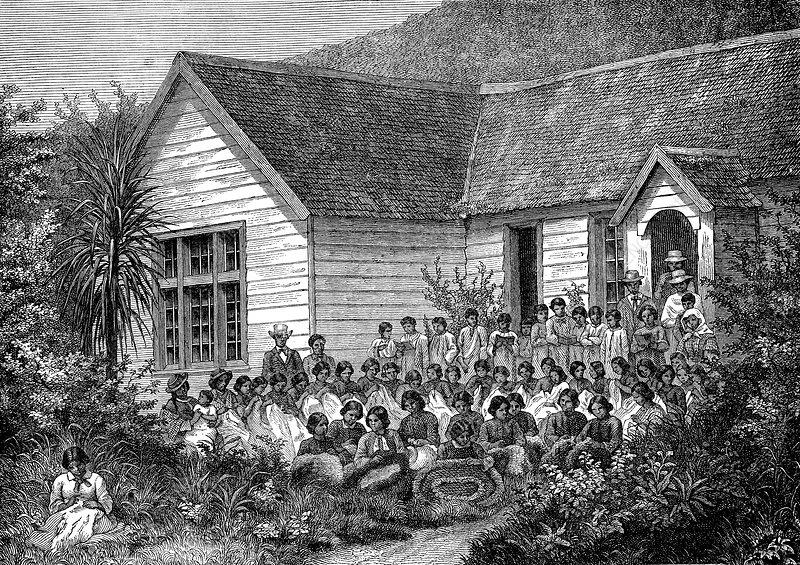 Maori school in New Zealand, 19th century