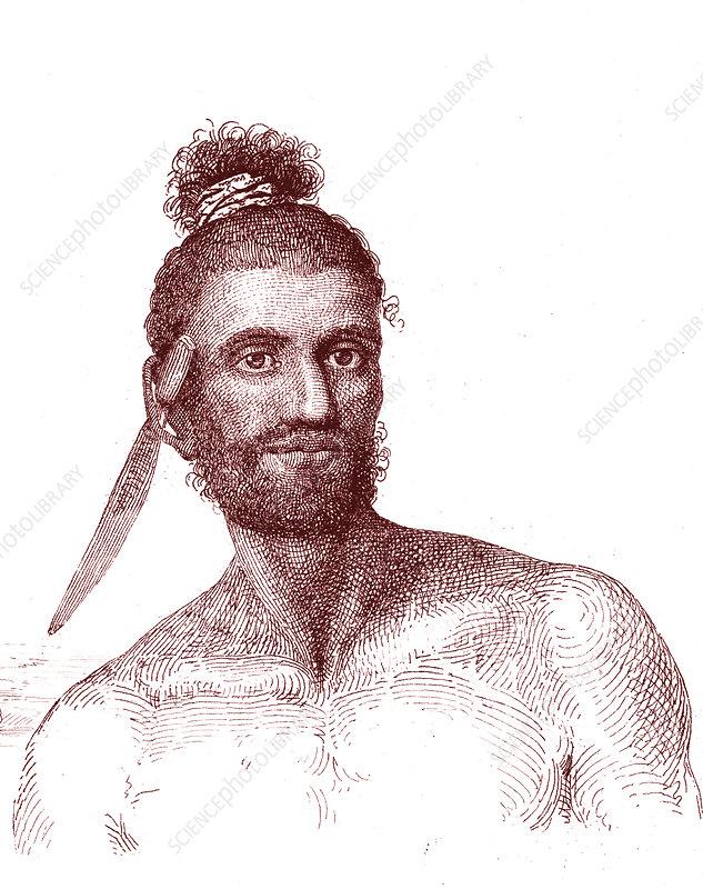 Cook Islands man, 19th century