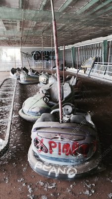 Abandoned bumper cars, New Orleans, USA