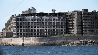 Ruined buildings on Hashima Island, Japan