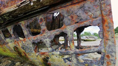 Rusting boat, Brittany, France