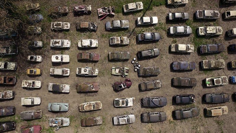 Car auction storage, France