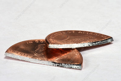 Cut Penny with zinc core