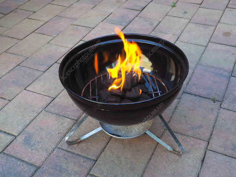 Burning Charcoal in a Barbecue Grill, 3 of 4