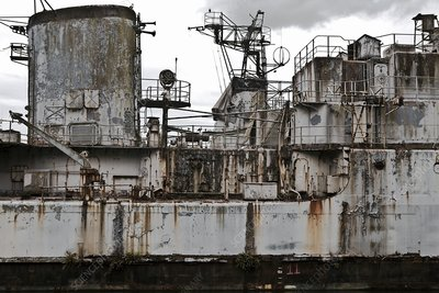 Decaying cruiser awaiting scrapping, France