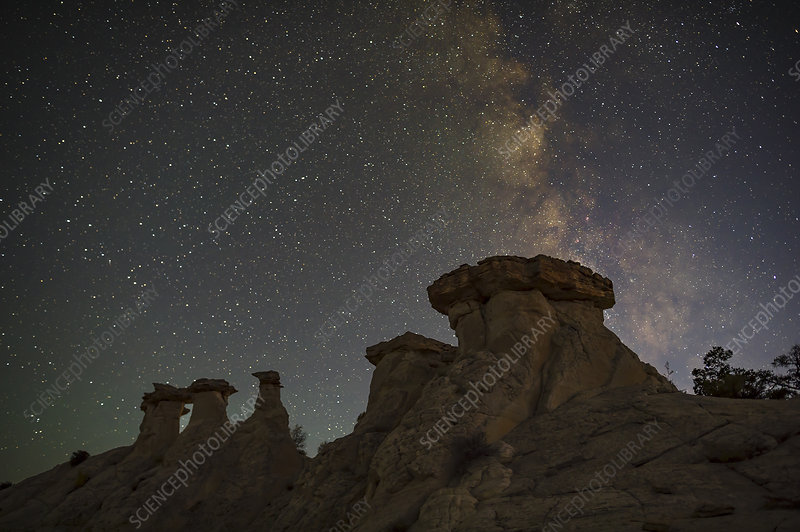 Milky Way Above Hoodoo Formations, Utah