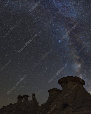 The Milky Way Above Hoodoo Formations, Utah