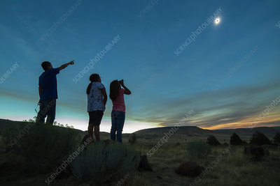 Native American Kids Watching Total Solar Eclipse