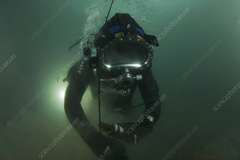 Commercial diver in the Mediterranean