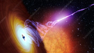 Black hole with accretion disc and plasma jet, illustration