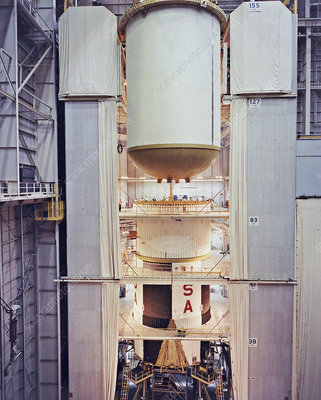 Saturn V first stage vertical assembly, 1967