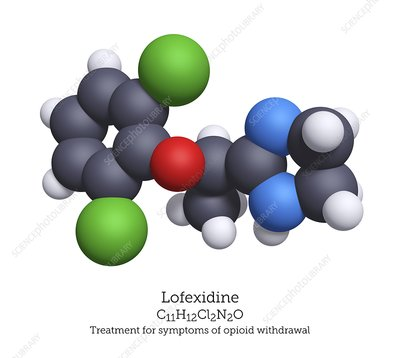 Lofexidine opioid withdrawal treatment molecule