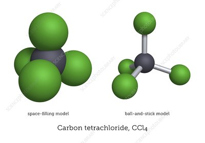 Molecular models of carbon tetrachloride