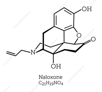 Naloxone opioid overdose treatment molecule