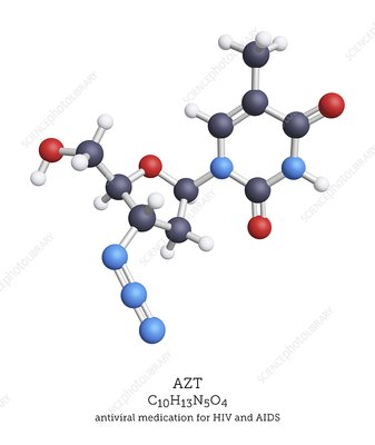 AZT HIV and AIDS drug molecule