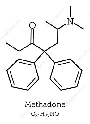 Methadone drug molecule