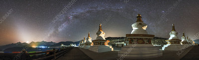 Milky Way over Buddhist stupas, China