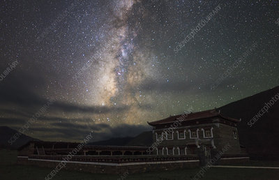 Milky Way and Tibetan house