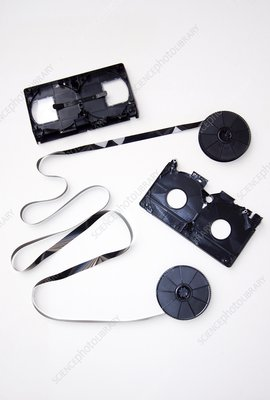 Video tape cassette, exploded view
