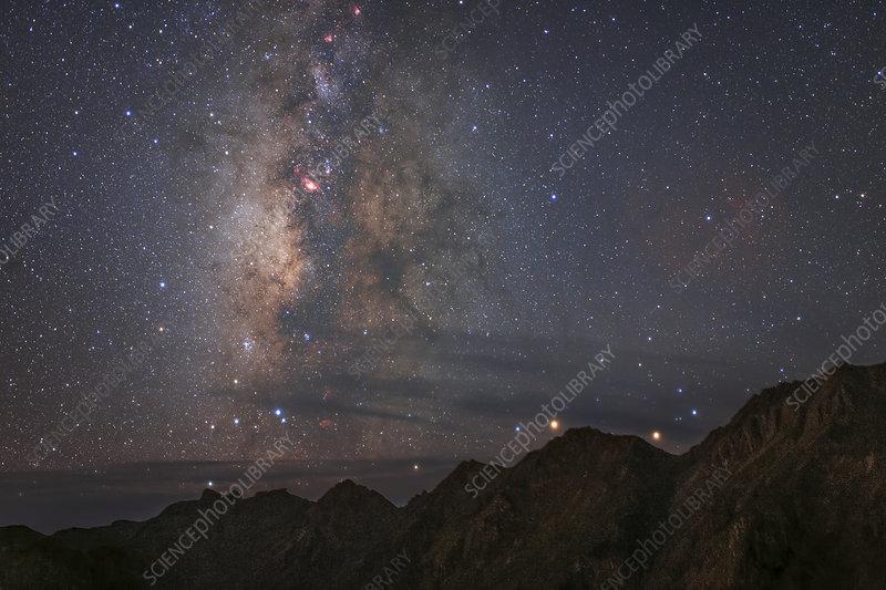 Milky Way over Mount Balang, China