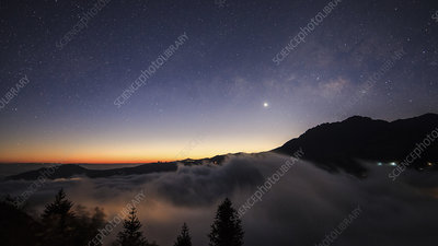 Milky Way and Venus over clouds in China