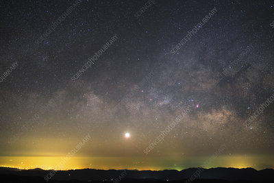 Venus and Milky Way over lights in China