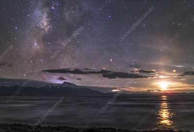 Milky Way and moonset over Lake Manasarovar