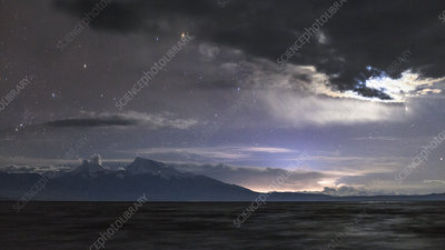Storm clouds and Moon over Lake Manasarovar