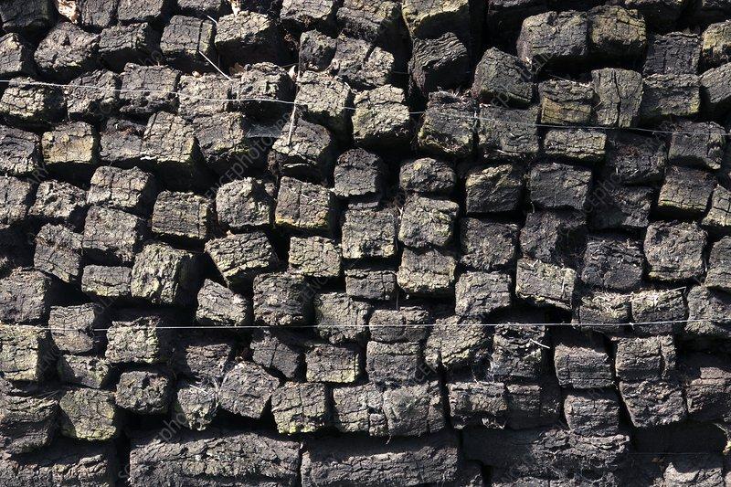 Stacked peat blocks