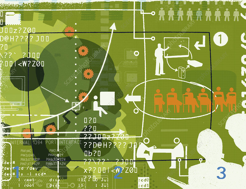 Business communication collage, illustration