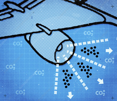 Aeroplane carbon emissions, illustration