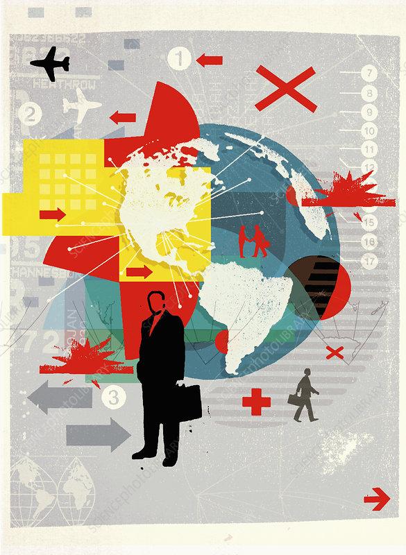 Business travel collage, illustration