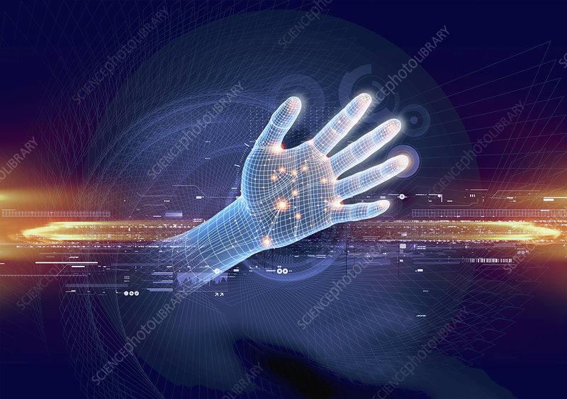 Digital hand, illustration