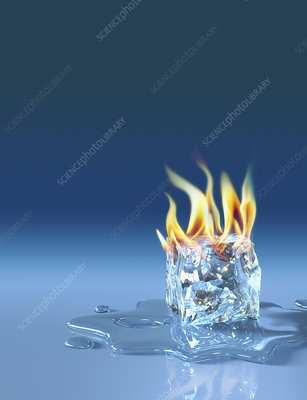 Flaming ice cube, illustration