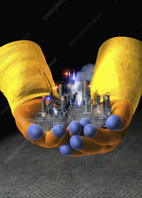 Gloved hands holding toxic factory, illustration