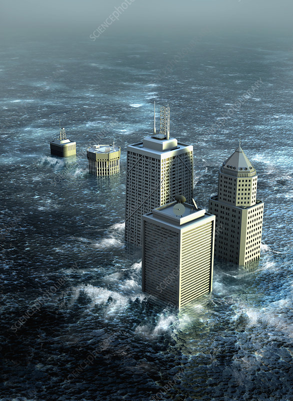 Highrise buildings sinking in flood water, illustration