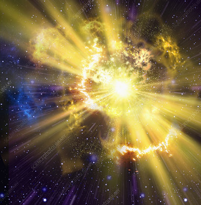 Yellow supernova exploding in outer space, illustration