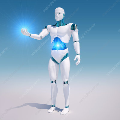 Android holding light, illustration