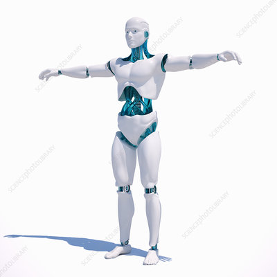 Android standing with arms outstretched, illustration
