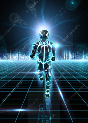 Glowing android running, illustration
