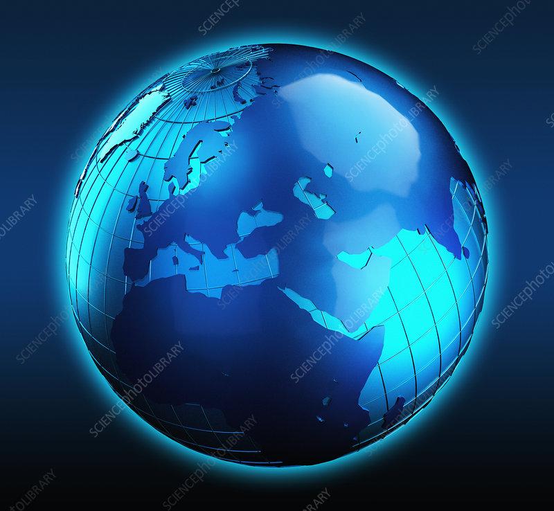 Blue globe focused on the Middle East, illustration