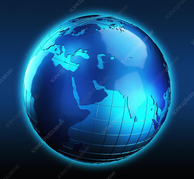 Blue globe focused on Asia, illustration