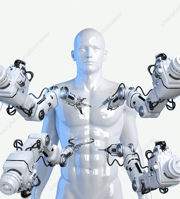 Robotic arms with tools around human body, illustration