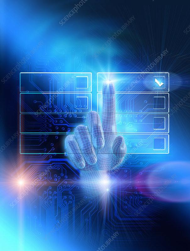 Finger choosing checkbox, illustration