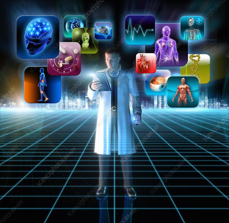 Medical doctor using digital tablet, illustration