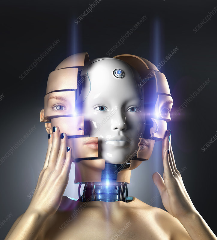 Woman removing face and revealing android head, illustration