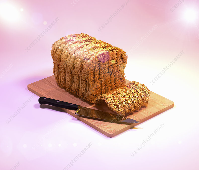 Wheat sheaves forming loaf of bread, illustration