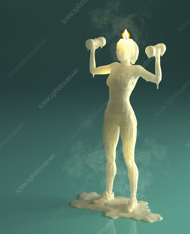 Melting wax candle of woman weight training, illustration