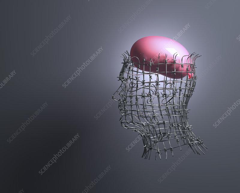Balloon brain inside of man's head, illustration