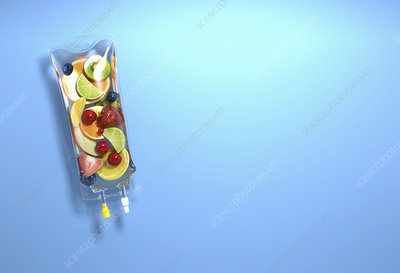 Fresh fruit inside of iv drip bag, illustration